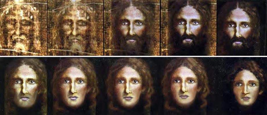 Polizisten rekonstruieren Gesicht Jesu